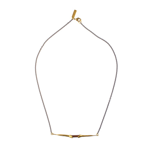 Bionic Lateral Quill Necklace Brass