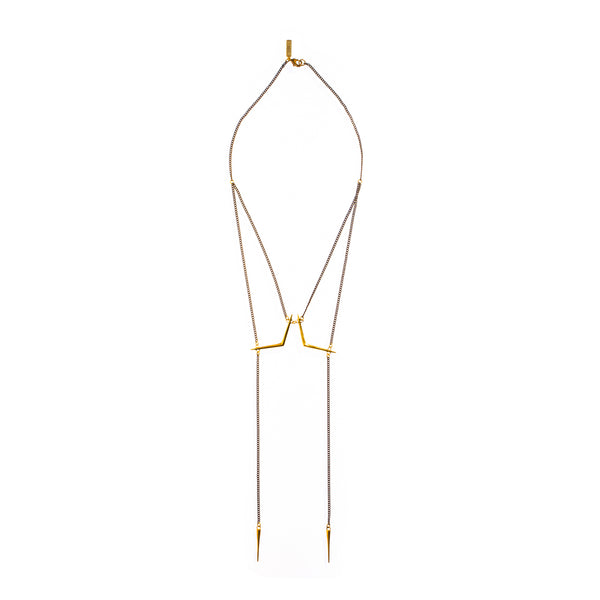 Double Ray Bolero Necklace Brass