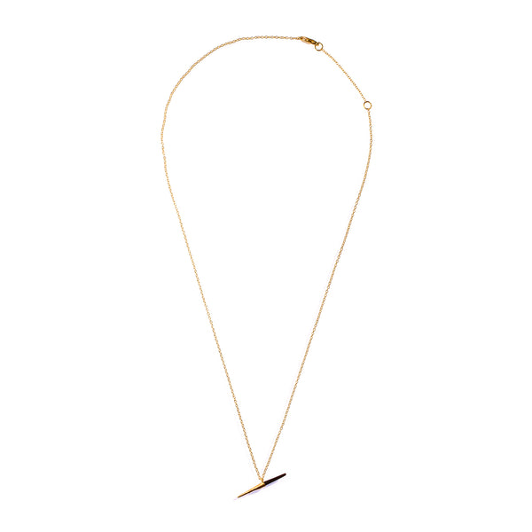 Petite Bionic Spike Quill Necklace Yellow Gold