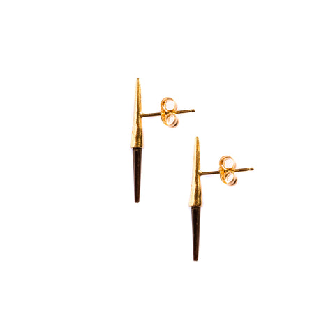 Petite Bionic Spike Quill Studs Yellow Gold