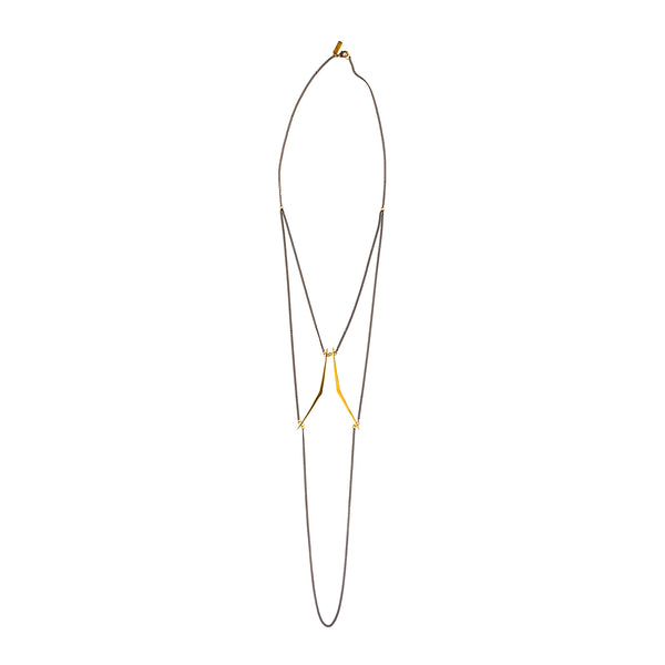 Double Ray Swag Necklace Brass