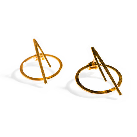Petite Orbit Flare Studs Yellow Gold