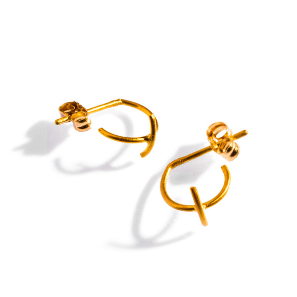 Petite Bisecting Hoops Yellow Gold
