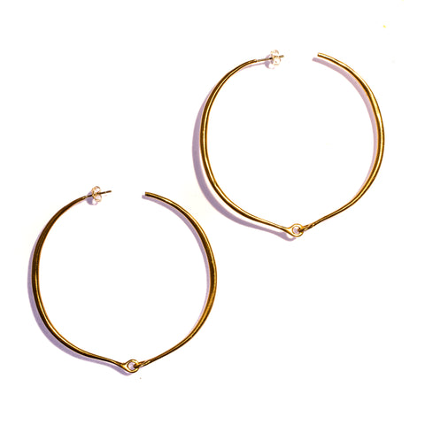 Large Hinged Hoops Brass