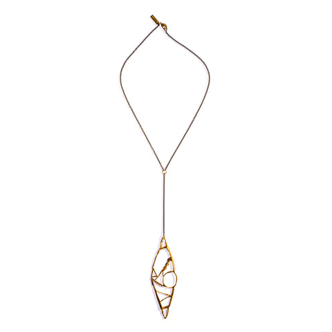 10 Year Shebang Y Necklace Brass