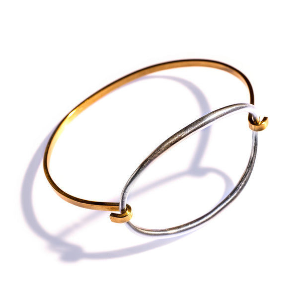 Convex Ellipse Tension Cuff Brass / Sterling