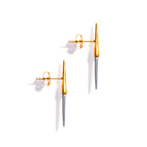 Petite Bionic Spike Studs Yellow Gold / Sterling Silver