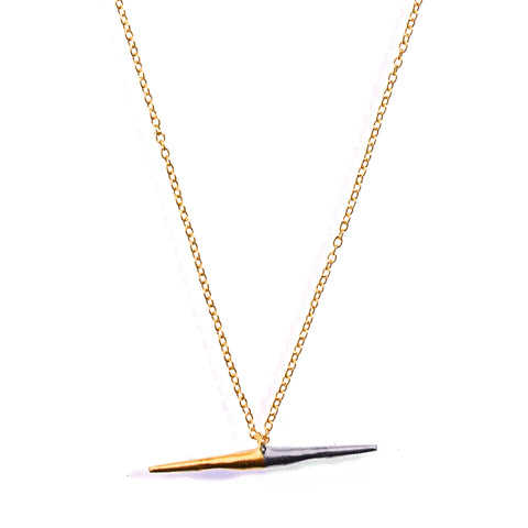 Petite Bionic Spike Necklace Yellow Gold / Sterling Silver On Gold Chain