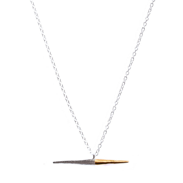 Petite Bionic Spike Necklace Sterling Silver / Yellow Gold On Silver Chain
