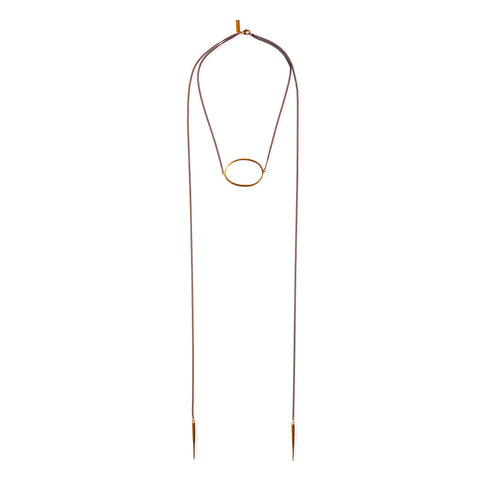 Large Ellipse Lariat W Spike Drops Brass