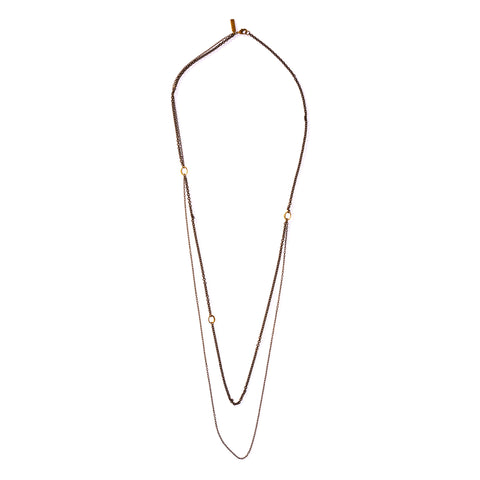 Small Ellipse Double Chain Necklace Brass