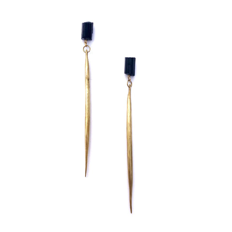 Black Tourmaline / Cast Quill Drops a Collaboration with Hinge Designs