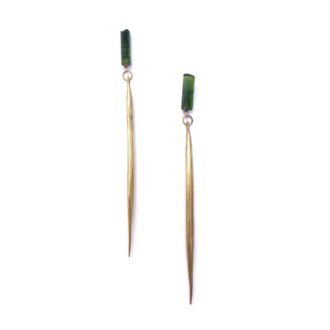 Green Tourmaline / Cast Quill Drops a Collaboration with Hinge Designs