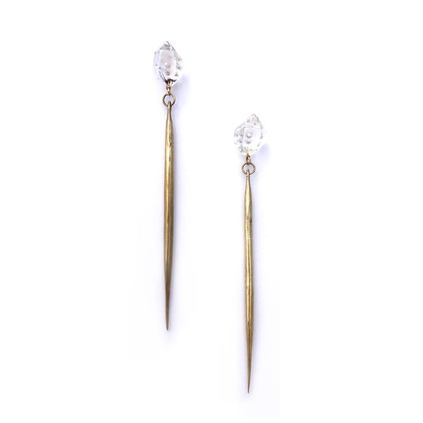 Herkimer Diamond / Cast Quill Drops a Collaboration with Hinge Designs