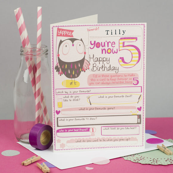Personalised Girls 5th Birthday Card