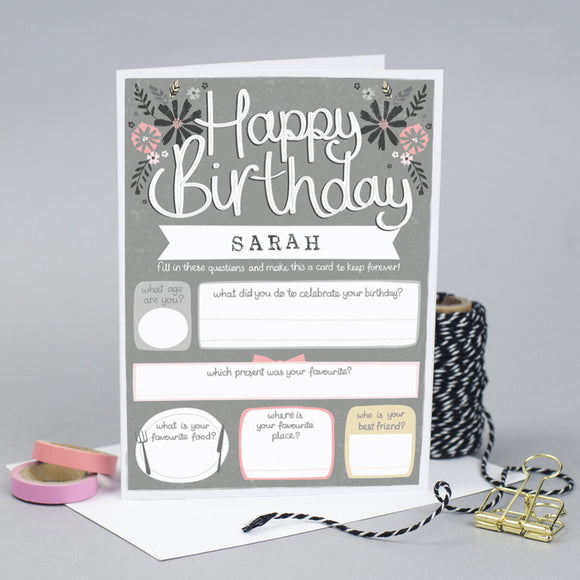 Personalised Keepsake Birthday Card for her