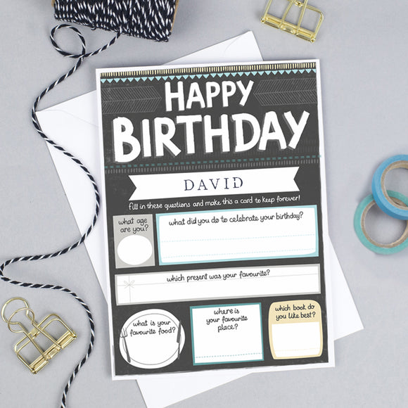 Personalised Keepsake Birthday Card for him