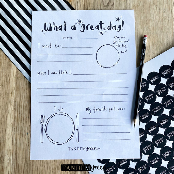 Printable Day Out Writing Template