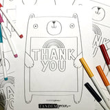 Bear Hug Thank you Colouring Sheet