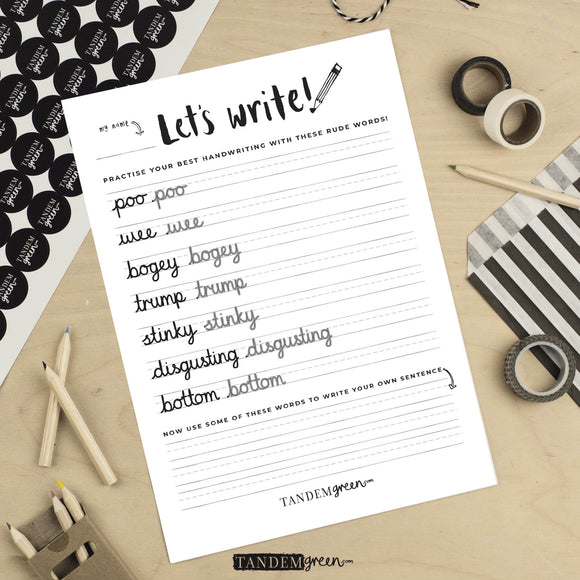 Printable FUN Handwriting Practise sheet