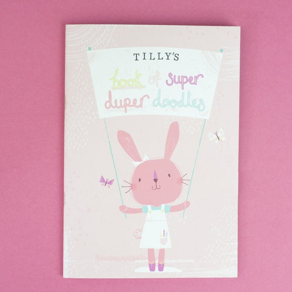 Personalised Rabbit Drawing Notebook with Crayons