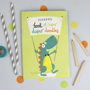 Personalised Dinosaur Drawing Notebook with Crayons