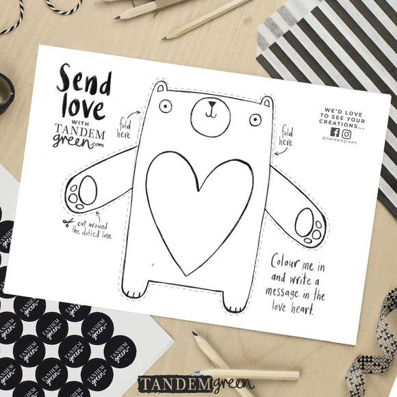 Bear Love Hug Printable Activity Sheet