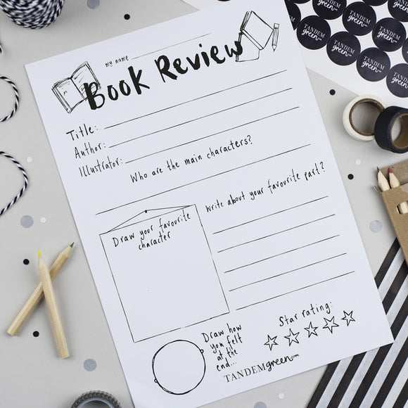 Printable Book Review Writing Template