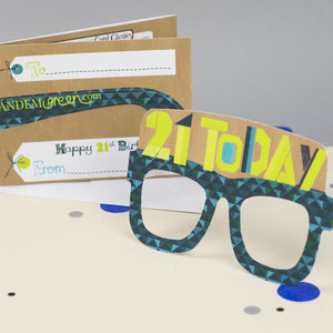21st Birthday Card Glasses for him