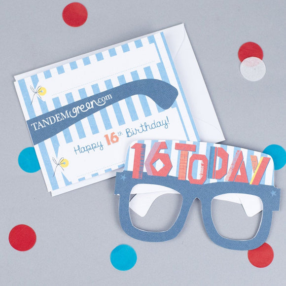 16th Birthday Card Glasses for him
