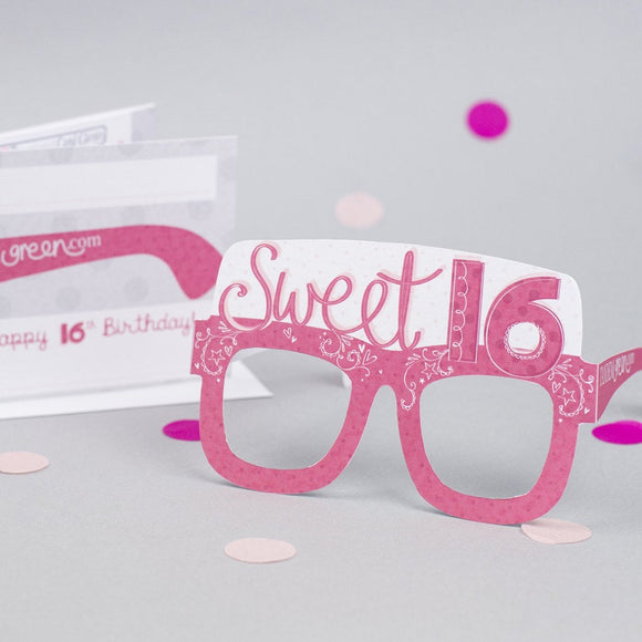 16th Birthday Card Glasses for her