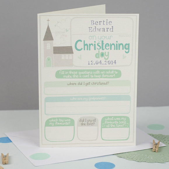 Personalised Boys Christening Card