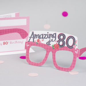 80th Birthday Card Glasses for her