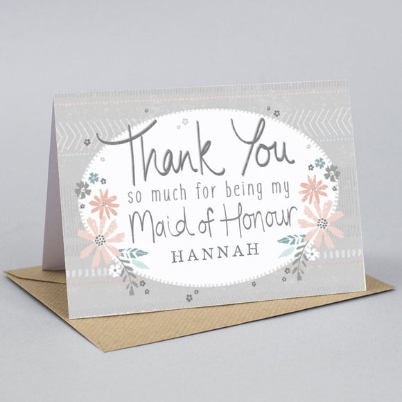 Personalised Thank you for being my Maid of Honour card