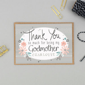 Personalised Thank You for being my Godmother card