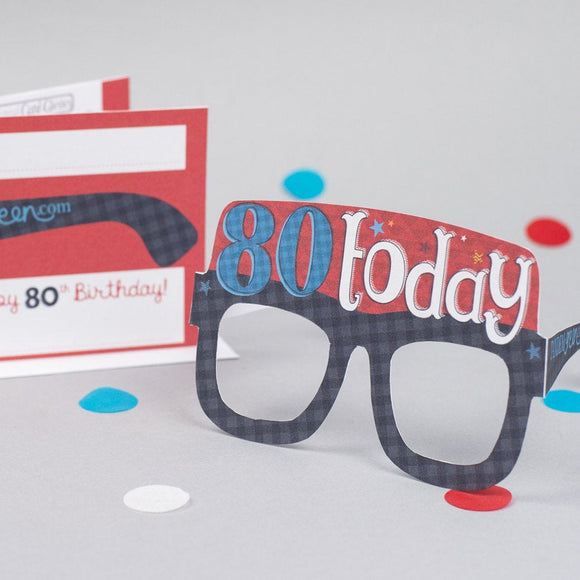 80th Birthday Card Glasses for him