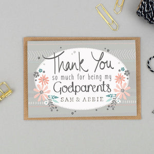 Personalised Godparents Thank You Card