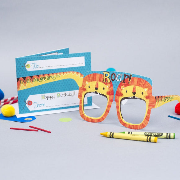 Lion Birthday Card Glasses