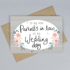 To My Parents In Law On My Wedding Day Card