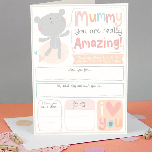 Keepsake Mother's Day Card for Mummy