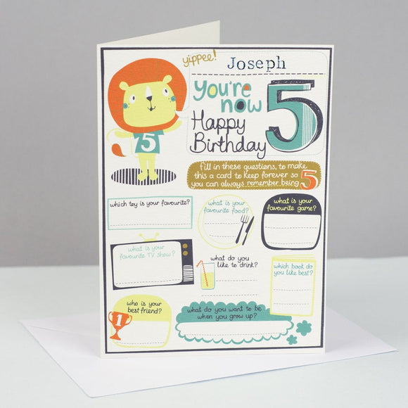 Personalised Boys 5th Birthday Card