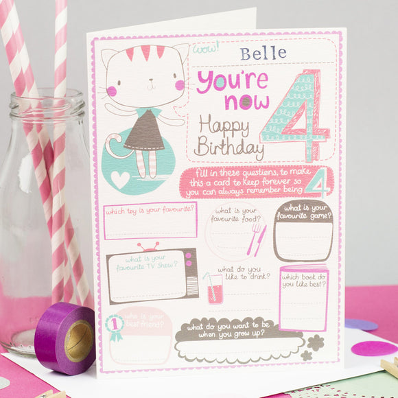 Personalised Girls 4th Birthday Card