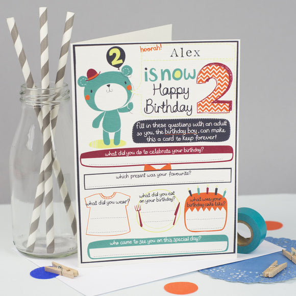Personalised Boys 2nd birthday Card