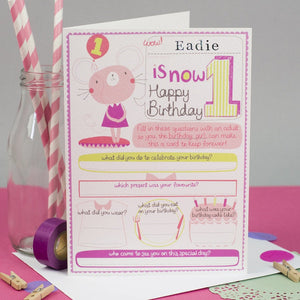 Personalised Girls 1st Birthday Card