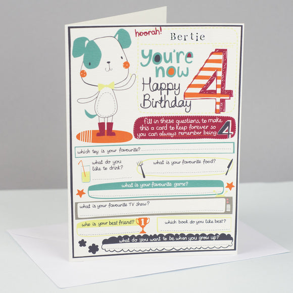 Personalised Boys 4th Birthday Card