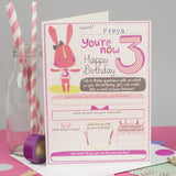 Personalised Girls 3rd Birthday Card