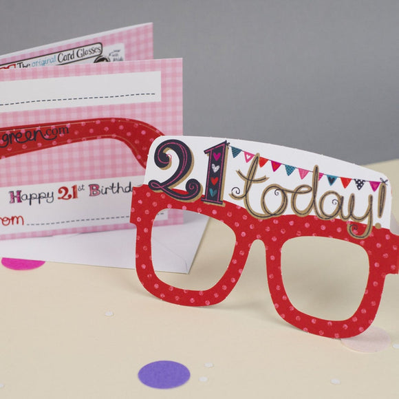 21st Birthday Card Glasses for her