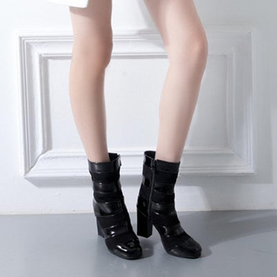 Suede Patent Leather Splicing Zipper Boots