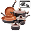 Copper Ceramic Cookware Set,11 Piece,Black