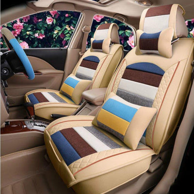 Muti-color PU Leather Patchwork Car Seat Covers